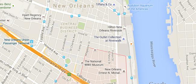 Warehouse Art District  barrio hipste nueva orleans mapa