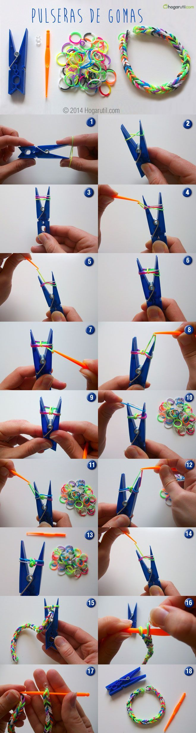 como hacer pulseras de goma de colores