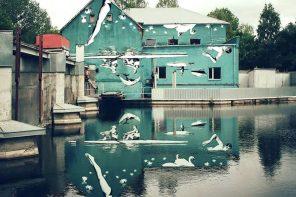 Ilusiones ópticas: el mural que hay que ver en su reflejo