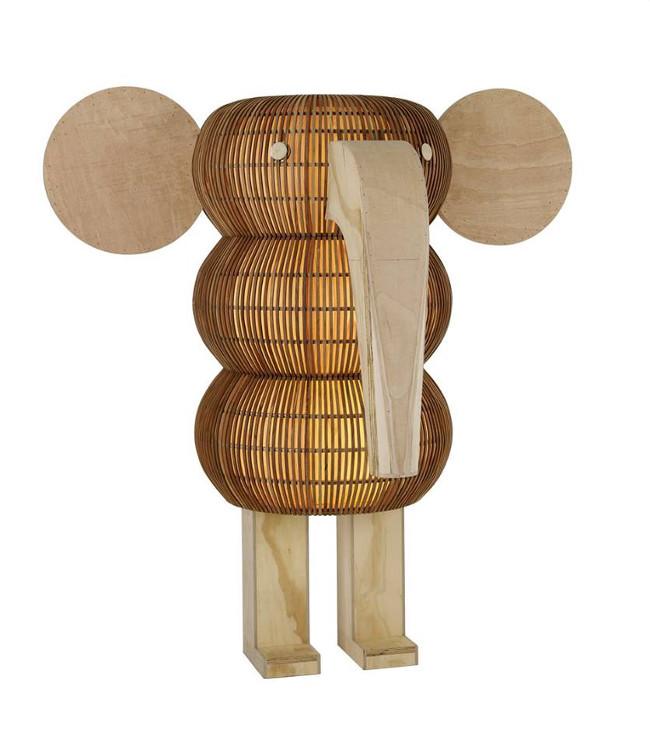 lámparas de madera artesanales en forma de elefante 2