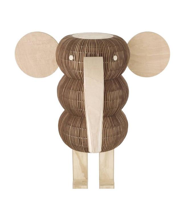 lámparas de madera artesanales en forma de elefante